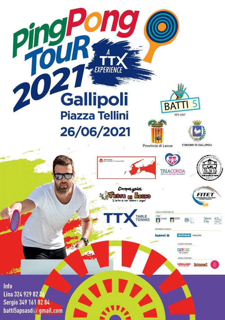 """""""Ping pong tour 2021… A TTX experience"""": oggi a Palazzo Adorno la presentazione dell'evento nazionale che farà tappa a Gallipoli"""