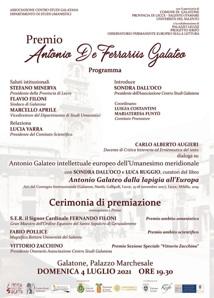 """""""Premio Antonio De Ferraris Galateo"""": domenica 4 luglio a Galatone la consegna dei riconoscimenti a Stasi, Tarricone e Manisco"""