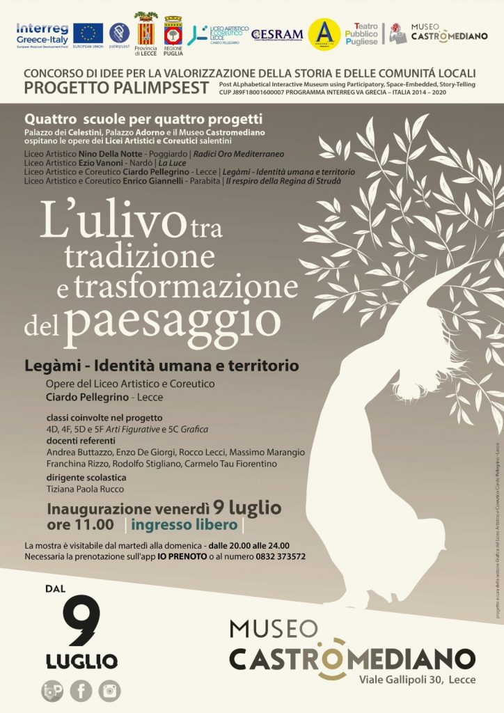 L'ulivo tra tradizione e trasformazione del paesaggio: domani al Castromediano inaugurazione mostra del Ciardo Pellegrino per il progetto Palimpsest