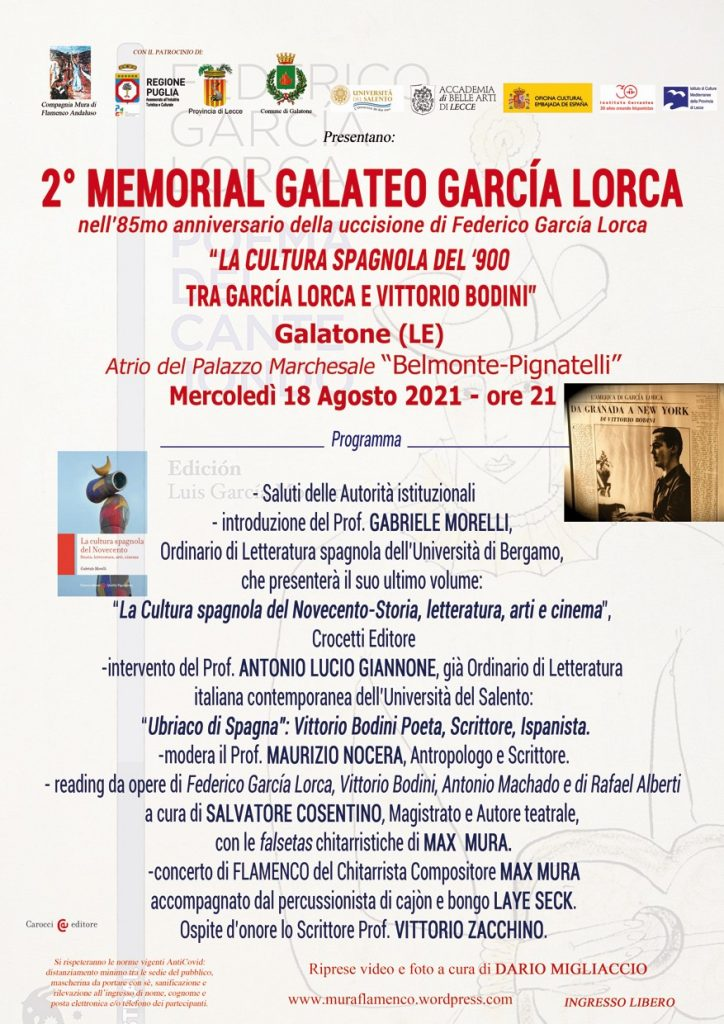 Il Salento ricorda Garcìa Lorca: il 18 e il 19 agosto doppio Memorial a Galatone e Botrugno