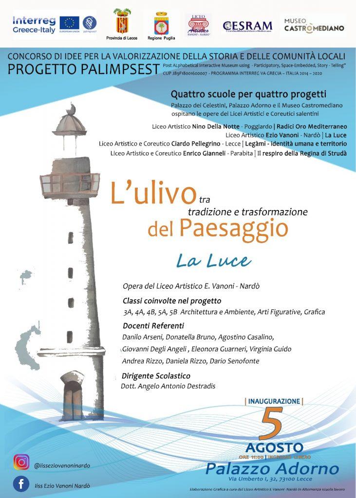 """La Luce: il 5 agosto a Palazzo Adorno inaugurazione dell'opera del """"Vanoni"""" di Nardò per il progetto Palimpsest"""